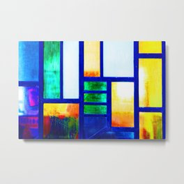 Art Deco Colorful Stained Glass Metal Print