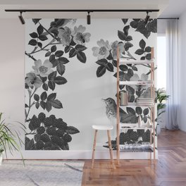 Birds and the Bees Black and White Wall Mural