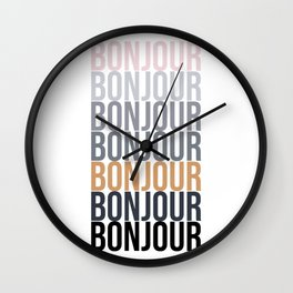 Bonjour in Bold Typography and Fall Colors Wall Clock