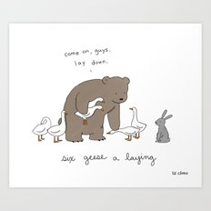 Six Geese-A-Laying  Art Print