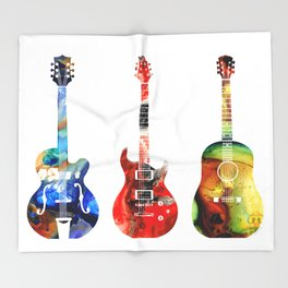 Guitar Threesome - Colorful Guitars By Sharon Cummings Throw Blanket