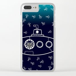 Cat in Submarine Clear iPhone Case