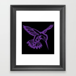 Hummingbird purple on black Framed Art Print