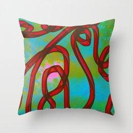 """Galactic Ribbon"" (Cherry/Lime) Digital Painting // Fine Art Print Throw Pillow"