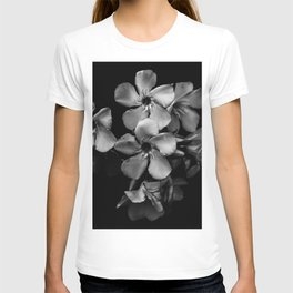 Oleander flowers in black and white T-shirt