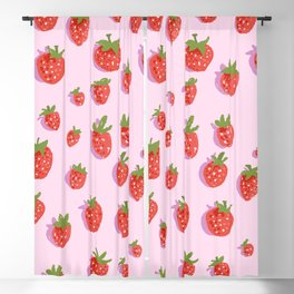 Ripe strawberries with sharp shadows on a pink background Blackout Curtain