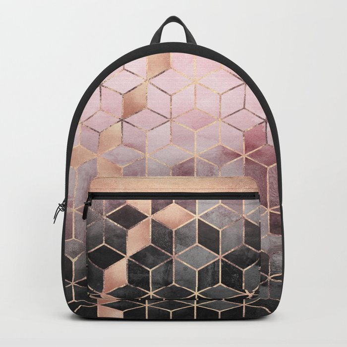Pink And Grey Gradient Cubes Rucksack