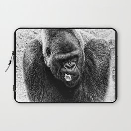Male Silverback Lowland Gorilla with Smirk and Lettuce in Mouth Vintage Black and White Laptop Sleeve