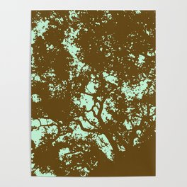 Mint and Brown Forest Poster