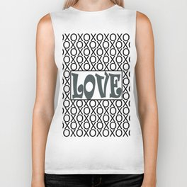 PPG's Night Watch Pewter Green LOVE XOs (Hugs and Kisses) Typography Art Biker Tank
