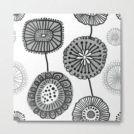 Folksy Floral in Black and White Metal Print