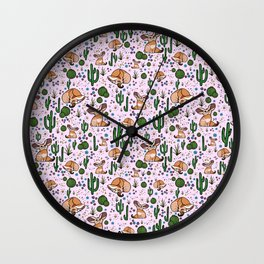 Fennec Foxes in Pink Wall Clock