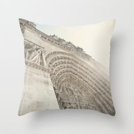 Bathed in sunlight at the Notre Dame, Paris, France Throw Pillow