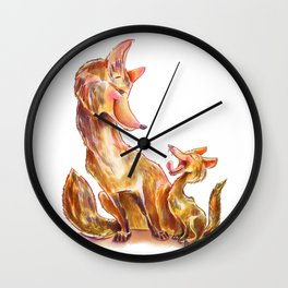 Tender moment Fox and Cub Wall Clock