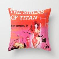 vonnegut Throw Pillows featuring Vonnegut -  The Sirens of Titan by Neon Wildlife