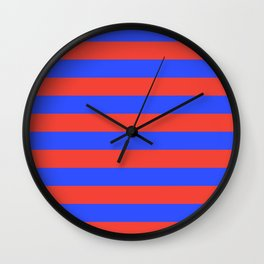 Even Horizontal Stripes, Blue and Red, L Wall Clock