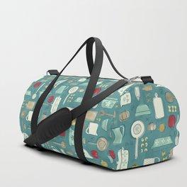Vintage Kitchen Utensils / Teal Duffle Bag