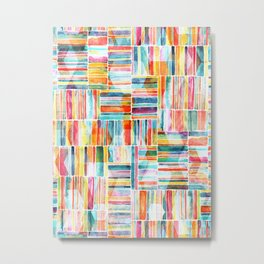 Summer Pastel Geometric and Striped Abstract on white Metal Print
