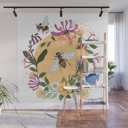 Honeysuckle and Bees Botanical Garland Wall Mural