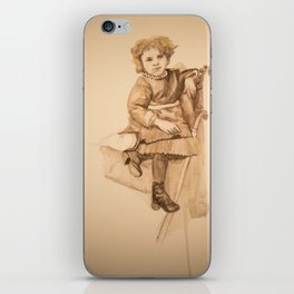 Watercolor Portrait Painting of Victorian Girl with Button Shoes iPhone Skin