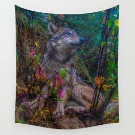 Wolf Pup in the Forest Wall Tapestry