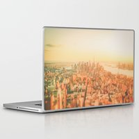 new york city Laptop & iPad Skins featuring New York City Sunset by Vivienne Gucwa