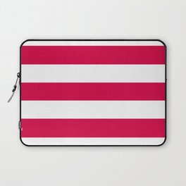 Rich carmine - solid color - white stripes pattern Laptop Sleeve