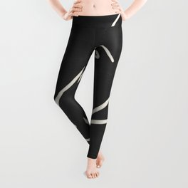Abstract Face Minimalist Line Drawing Leggings