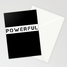 POWERFUL - WHITE ON BLACK Stationery Cards