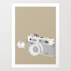 "Yashica Camera - ""Say Cheese"" - soft-brown Art Print"