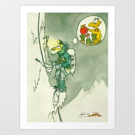 Climbing and Cactuses Art Print