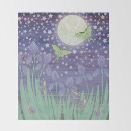 Moonlit stars, luna moths, snails, & irises Throw Blanket