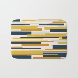 Wright. Modern Geometric Abstract in Mustard Yellow, Navy Blue, Pale Blush Pink, and Taupe Bath Mat