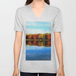 Lakeside, Autumn Unisex V-Neck