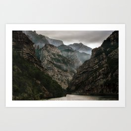 Foggy mountains over Neretva gorge Art Print