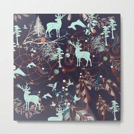 Tribal Decor Woodland Forest, Navy Blue Metal Print