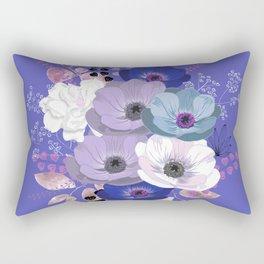 Anemones & Gardenia Blue bouquet Rectangular Pillow