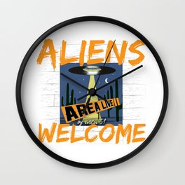 Aliens Welcome Wall Clock