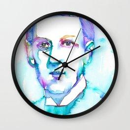 H. P. LOVECRAFT - watercolor portrait.6 Wall Clock