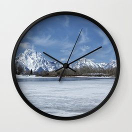 Grand Tetons and Snake River from Oxbow Bend Wall Clock