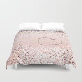 Sparkling ROSE GOLD Lady Glitter Heart #5 #decor #art #society6 Duvet Cover