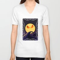 jack skellington V-neck T-shirts featuring Starry Night Jack Skellington by ThreeBoys