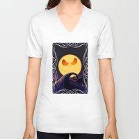 jack skellington V-neck T-shirts featuring Starry Night Jack Skellington by ThreeBoys