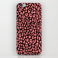 Coral Black Leopard iPhone Skin