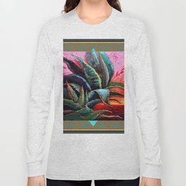 PUTTY COLOR ART DECO SOUTHWEST DESERT AGAVE Long Sleeve T-shirt