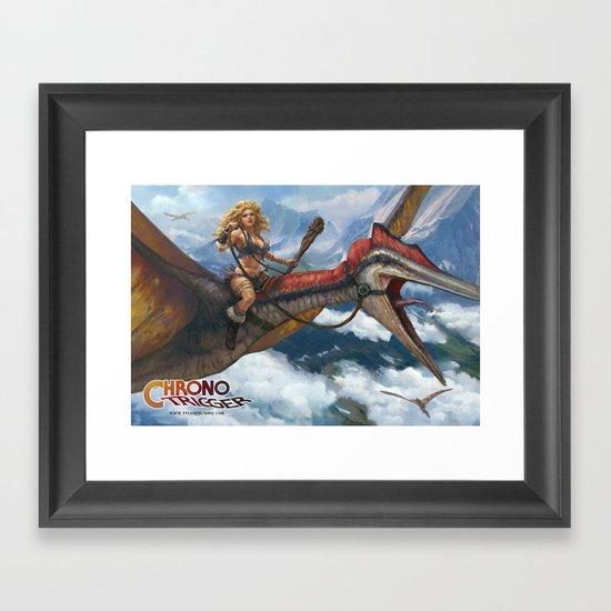 Ayla Dino Rider Framed Art Print