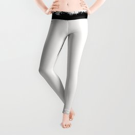 Square Strokes Black on White Leggings