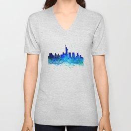 New York, watercolor Unisex V-Neck