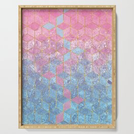 Pink and Blue Gradient Cube Pattern Serving Tray