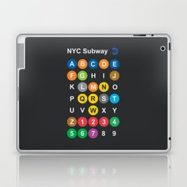 New York City subway alphabet map, NYC, lettering illustration, dark version, usa typography Laptop & iPad Skin